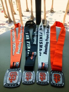 The far left one is the half marathon medal