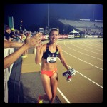 Kim Conley's 10,000m victory lap.